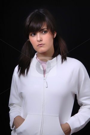 Posing stock photo, Young woman posing in black background in casual clothes by Rui Vale de Sousa