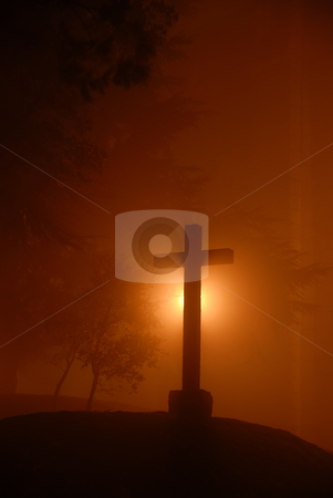 Cross stock photo, Small cross among fog in the dark night by Rui Vale de Sousa