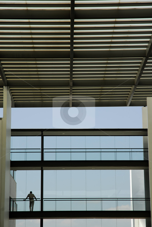 Inside stock photo, Man in the new building with the sky as background by Rui Vale de Sousa