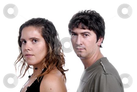 Couple stock photo, Young casual couple portrait in studio shot by Rui Vale de Sousa