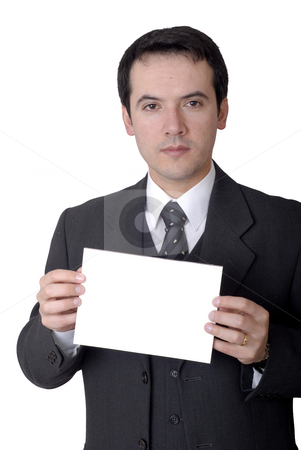 Advertise stock photo, Young business man with an empty card by Rui Vale de Sousa