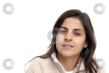 Smiling stock photo, Young casual woman portrait in a white background by Rui Vale de Sousa