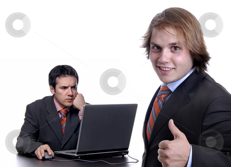 Working stock photo, Boss with a man working, focus on the right man by Rui Vale de Sousa
