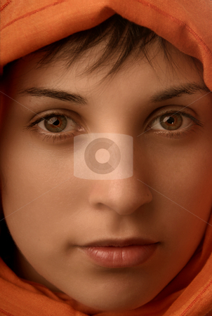Scarf stock photo, Young beautiful casual woman, close up portrait by Rui Vale de Sousa