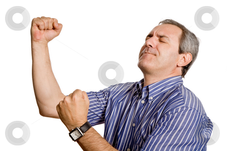 Winner stock photo, Happy mature man with arms isolated on white by Rui Vale de Sousa