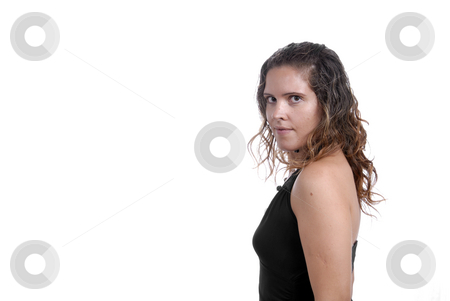 Woman stock photo, Young woman portrait isolated on white background by Rui Vale de Sousa