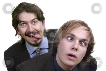 Silly stock photo, Two young business men portrait on white by Rui Vale de Sousa