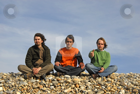 Three stock photo, Three casual young men at the beach by Rui Vale de Sousa