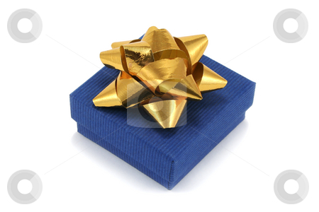 Blue Gift Box with Bow stock photo, Small blue cardboard giftbox with gold metallic bow by Helen Shorey