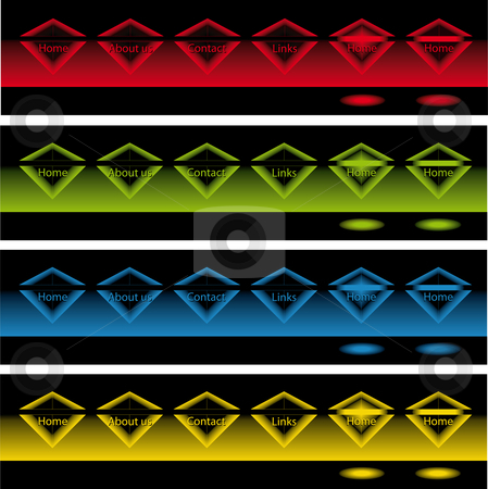 Glowing diamonds buttons in the dark stock vector clipart, Banners of glowing diamonds buttons in the dark for web use by Karin Claus