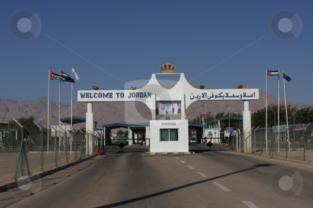 Entering Jordan from Israel at the Wadi Araba Crossing stock photo,  by Chris Budd