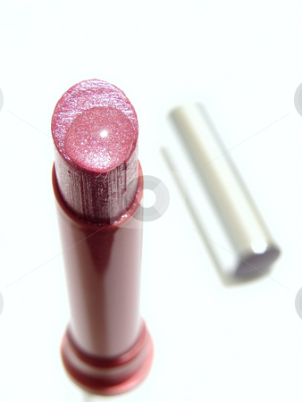 Pink lipstick stock photo, Shiny woman pink lipstick  with watter drop by Sergej Razvodovskij