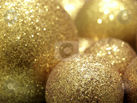 Gold baubles stock photo, A lot of gold christmas baubles by Sergej Razvodovskij