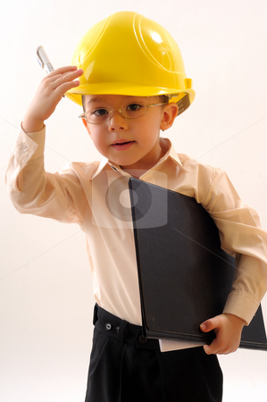 Small engineer stock photo, Small engineer saluting his partners by Dragos Iliescu
