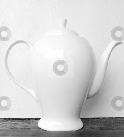 Big white teapot stock photo, Big white teapot against the white background by Leyla Akhundova
