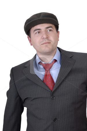 Man stock photo, Young man portrait with a hat isolated on white by Rui Vale de Sousa