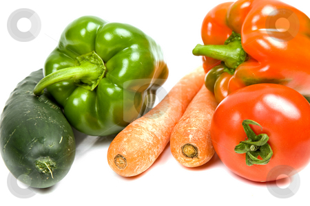 Vegetables stock photo, Set of different vegetables isolated on white by Rui Vale de Sousa