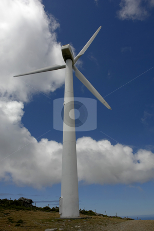 Wind turbine stock photo, Wind turbines farm in the top of the mountain by Rui Vale de Sousa