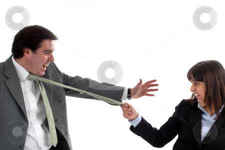 Tie stock photo, A business couple fighting isolated on white by Rui Vale de Sousa