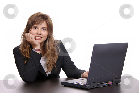 Working stock photo, Young business woman working with her laptop by Rui Vale de Sousa