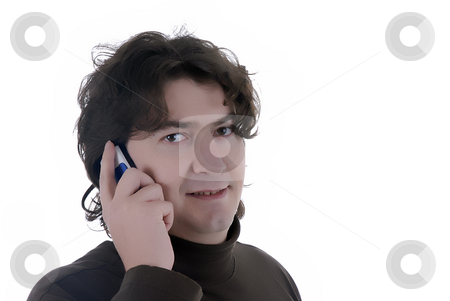 Call stock photo, Young man talking on mobile phone close up by Rui Vale de Sousa