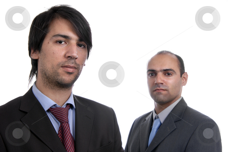 Two stock photo, Two young business men portrait on white. focus on the left man by Rui Vale de Sousa