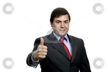 Thumb up stock photo, Young business man going thumb up, on white by Rui Vale de Sousa