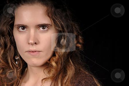 Beautiful stock photo, Young beautiful woman portrait on black background by Rui Vale de Sousa