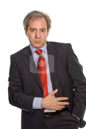 Thoughts stock photo, Mature business man portrait in white background by Rui Vale de Sousa