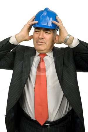 Worried stock photo, Worried engineer with blue hat, isolated on white by Rui Vale de Sousa