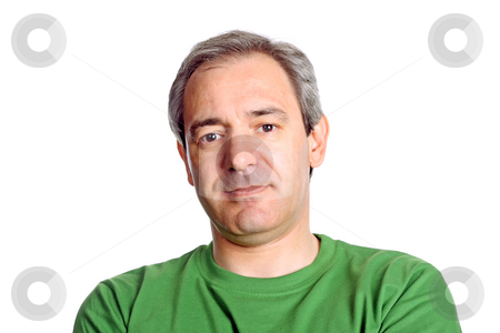 Standing stock photo, Mature casual man portrait, isolated on white by Rui Vale de Sousa