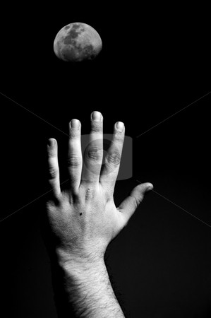 Hand stock photo, Male hand and the moon in the dark night by Rui Vale de Sousa