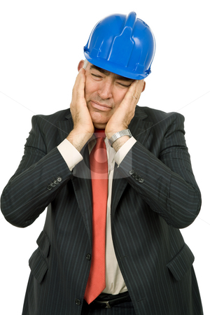 Headache stock photo, Worried engineer with blue hat, isolated on white by Rui Vale de Sousa