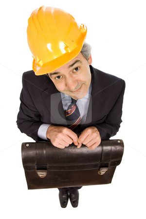 Engineer stock photo, An engineer with yellow hat ans suitcase, isolated on white by Rui Vale de Sousa