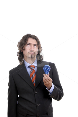 Lamp stock photo, Young business man with a lamp isolated on white by Rui Vale de Sousa