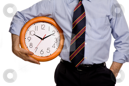 Clock stock photo, Business man with a clock on white background by Rui Vale de Sousa