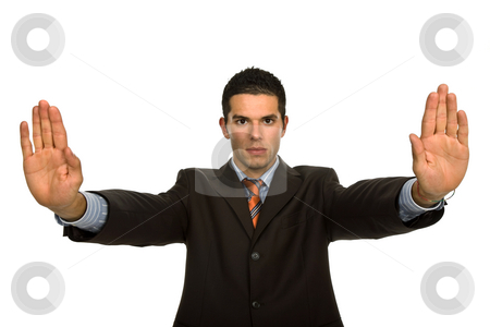 Stop stock photo, Man with hands open isolated on white by Rui Vale de Sousa