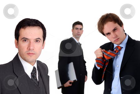 Men stock photo, Team of young business men isolated on white by Rui Vale de Sousa