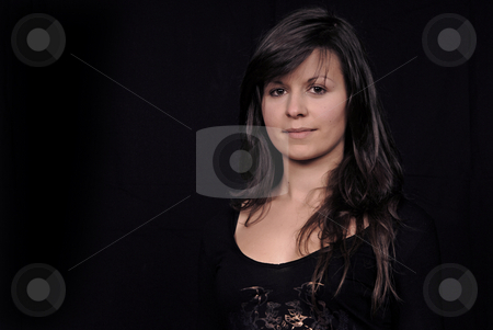 Woman stock photo, Young beautiful woman portrait on black background by Rui Vale de Sousa