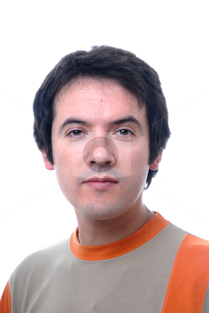 Man stock photo, Young casual male portrait isolated on white by Rui Vale de Sousa
