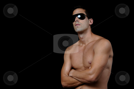 Naked stock photo, Naked muscular male model with sun glasses by Rui Vale de Sousa