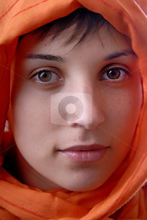 Scarf stock photo, Young woman close up portrait, studio picture by Rui Vale de Sousa