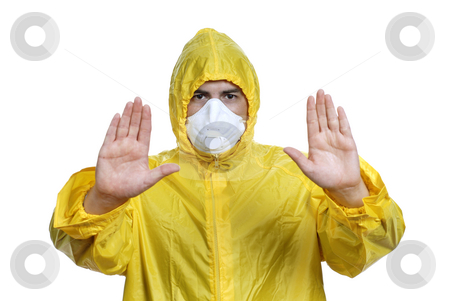 Halt stock photo, Young man in yellow with a mask, on white by Rui Vale de Sousa