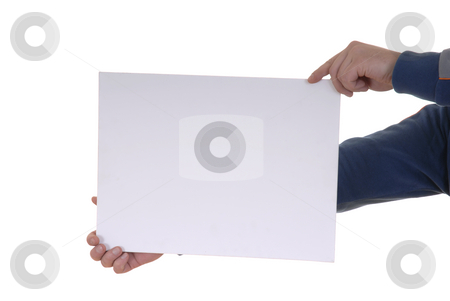 Holding card stock photo, Hand holding blank card in white background by Rui Vale de Sousa