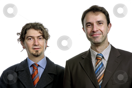 Stand stock photo, Two young business men portrait on white by Rui Vale de Sousa