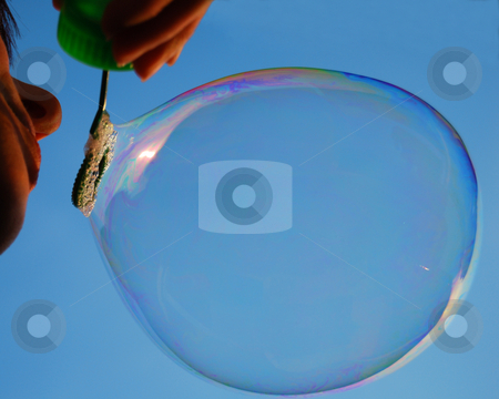 Soap bubble stock photo, Girl blows soap bubble by Leyla Akhundova