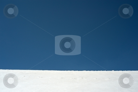 Blue white horizon stock photo, Blue sky horizon with white snow structure by Juraj Kovacik