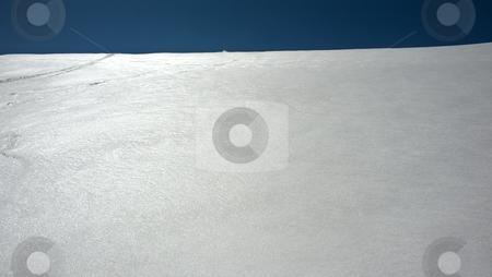 Blue white horizon stock photo, Blue sky horizon with white snow structure by Juraj Kovacik