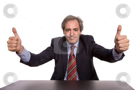 Thumbs up stock photo, Business man going thumbs up isolated on white by Rui Vale de Sousa