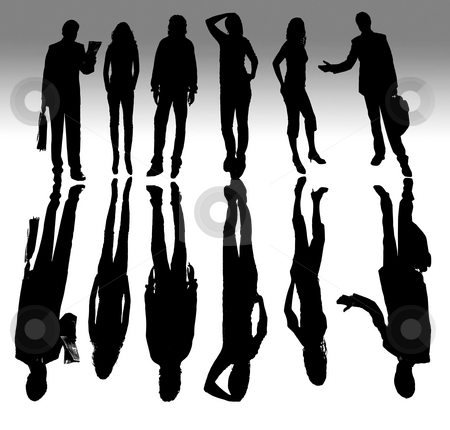 People stock photo, Young business team in silouette, isolated on white by Rui Vale de Sousa